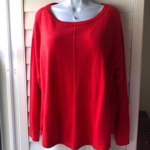 Loft Red Mixed Media Long Sleeved Sweater